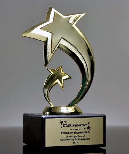 Hockey Gold Star Trophy with 3 lines of custom text