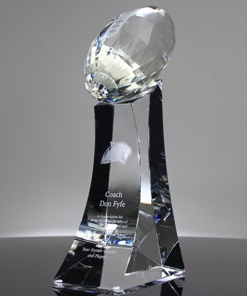 Picture of Large Faceted Crystal Football Trophy