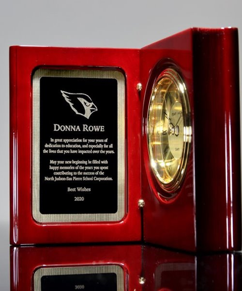 Picture of Hand Rubbed Mahogany Book Clock Award