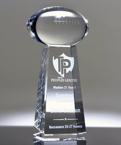 Picture of Large Crystal Football on Pedestal Award
