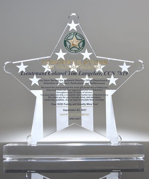 Picture of Sheriff Retirement Plaque