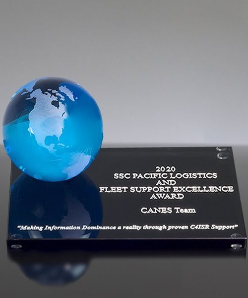 Picture of Blue Frosted Crystal Globe Award